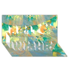 Abstract Flower Design in Turquoise and Yellows Best Wish 3D Greeting Card (8x4)