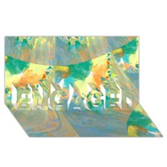 Abstract Flower Design in Turquoise and Yellows ENGAGED 3D Greeting Card (8x4)