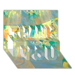 Abstract Flower Design in Turquoise and Yellows THANK YOU 3D Greeting Card (7x5)