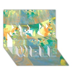 Abstract Flower Design In Turquoise And Yellows Get Well 3d Greeting Card (7x5)