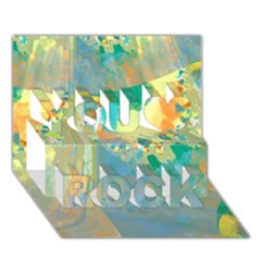 Abstract Flower Design In Turquoise And Yellows You Rock 3d Greeting Card (7x5)