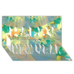 Abstract Flower Design in Turquoise and Yellows Happy New Year 3D Greeting Card (8x4)