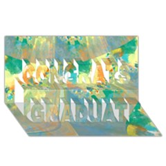 Abstract Flower Design in Turquoise and Yellows Congrats Graduate 3D Greeting Card (8x4)