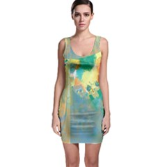 Abstract Flower Design In Turquoise And Yellows Bodycon Dresses