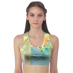 Abstract Flower Design in Turquoise and Yellows Sports Bra