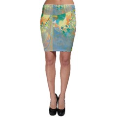 Abstract Flower Design in Turquoise and Yellows Bodycon Skirts