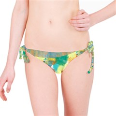 Abstract Flower Design In Turquoise And Yellows Bikini Bottoms