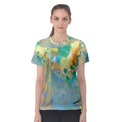 Abstract Flower Design in Turquoise and Yellows Women s Sport Mesh Tees