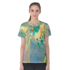 Abstract Flower Design in Turquoise and Yellows Women s Cotton Tees