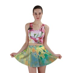 Abstract Flower Design In Turquoise And Yellows Mini Skirts