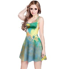 Abstract Flower Design in Turquoise and Yellows Reversible Sleeveless Dresses