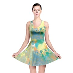 Abstract Flower Design In Turquoise And Yellows Reversible Skater Dresses