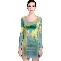 Abstract Flower Design In Turquoise And Yellows Long Sleeve Bodycon Dresses