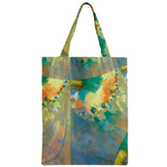 Abstract Flower Design in Turquoise and Yellows Classic Tote Bags