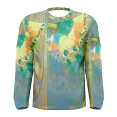 Abstract Flower Design in Turquoise and Yellows Men s Long Sleeve T-shirts