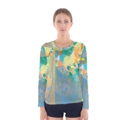 Abstract Flower Design in Turquoise and Yellows Women s Long Sleeve T-shirts