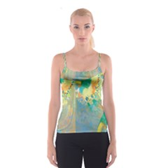 Abstract Flower Design In Turquoise And Yellows Spaghetti Strap Tops