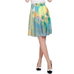 Abstract Flower Design in Turquoise and Yellows A-Line Skirts