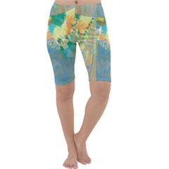 Abstract Flower Design In Turquoise And Yellows Cropped Leggings