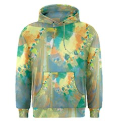 Abstract Flower Design in Turquoise and Yellows Men s Pullover Hoodies