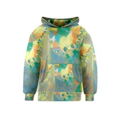 Abstract Flower Design In Turquoise And Yellows Kid s Pullover Hoodies