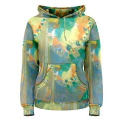 Abstract Flower Design in Turquoise and Yellows Women s Pullover Hoodies