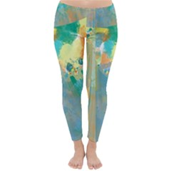 Abstract Flower Design in Turquoise and Yellows Winter Leggings