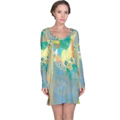 Abstract Flower Design in Turquoise and Yellows Long Sleeve Nightdresses