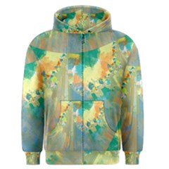 Abstract Flower Design in Turquoise and Yellows Men s Zipper Hoodies