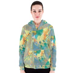 Abstract Flower Design In Turquoise And Yellows Women s Zipper Hoodies