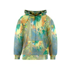 Abstract Flower Design in Turquoise and Yellows Kids Zipper Hoodies