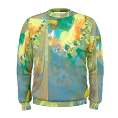 Abstract Flower Design In Turquoise And Yellows Men s Sweatshirts