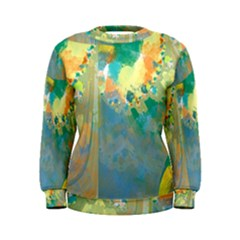 Abstract Flower Design in Turquoise and Yellows Women s Sweatshirts