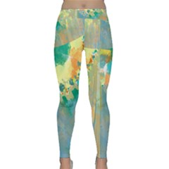 Abstract Flower Design In Turquoise And Yellows Yoga Leggings