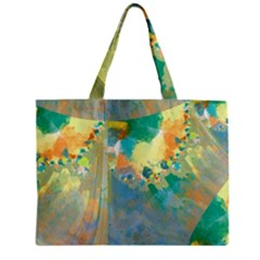 Abstract Flower Design In Turquoise And Yellows Zipper Tiny Tote Bags