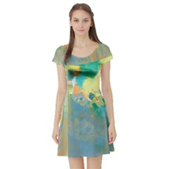 Abstract Flower Design In Turquoise And Yellows Short Sleeve Skater Dresses