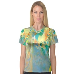 Abstract Flower Design in Turquoise and Yellows Women s V-Neck Sport Mesh Tee