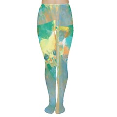 Abstract Flower Design In Turquoise And Yellows Women s Tights