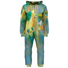 Abstract Flower Design in Turquoise and Yellows Hooded Jumpsuit (Ladies)