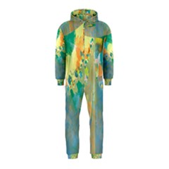Abstract Flower Design in Turquoise and Yellows Hooded Jumpsuit (Kids)
