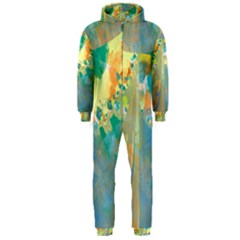 Abstract Flower Design in Turquoise and Yellows Hooded Jumpsuit (Men)
