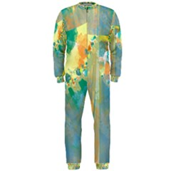 Abstract Flower Design in Turquoise and Yellows OnePiece Jumpsuit (Men)