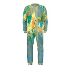 Abstract Flower Design in Turquoise and Yellows OnePiece Jumpsuit (Kids)