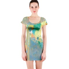 Abstract Flower Design In Turquoise And Yellows Short Sleeve Bodycon Dresses