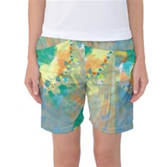 Abstract Flower Design in Turquoise and Yellows Women s Basketball Shorts