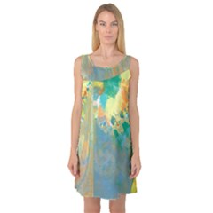 Abstract Flower Design in Turquoise and Yellows Sleeveless Satin Nightdresses