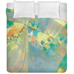 Abstract Flower Design In Turquoise And Yellows Duvet Cover (double Size)