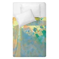 Abstract Flower Design In Turquoise And Yellows Duvet Cover (single Size)