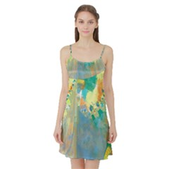 Abstract Flower Design in Turquoise and Yellows Satin Night Slip