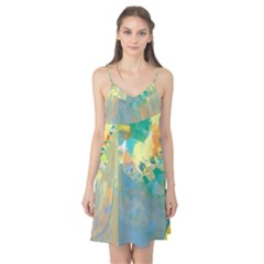 Abstract Flower Design In Turquoise And Yellows Camis Nightgown
